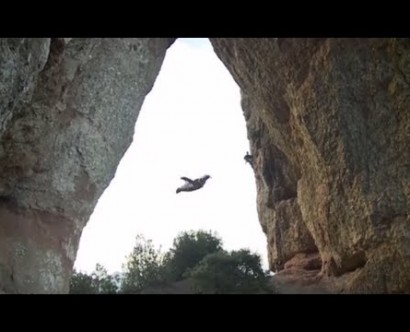Incredible Wingsuit Flight Through a Narrow Cave