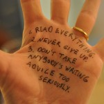 Writers Handwrite Writing Advice on Their Hands
